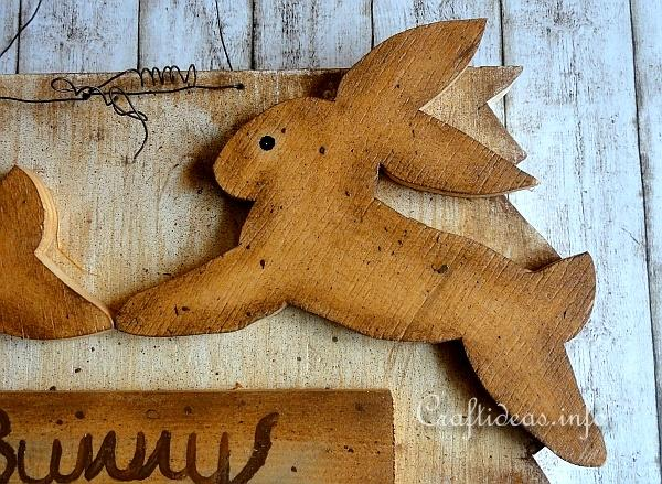 Wood Craft for Spring and Easter - Wooden Sign with Crossing Bunny 2