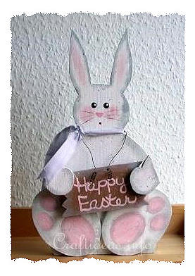 Wood Crafts for Easter - Cute White Easter Bunny Woodcraf