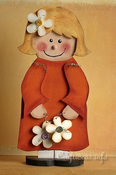 Wood Crafts for Summer - Flower Girl