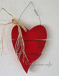 Wood Crafts for Valentine's Day - Country Red Wooden Heart