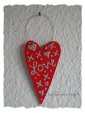Wood Crafts for Valentine's Day - Red Wooden Hear