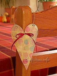 Wood Crafts for Valentine's Day - Wooden Heart with Scrapbook Paper