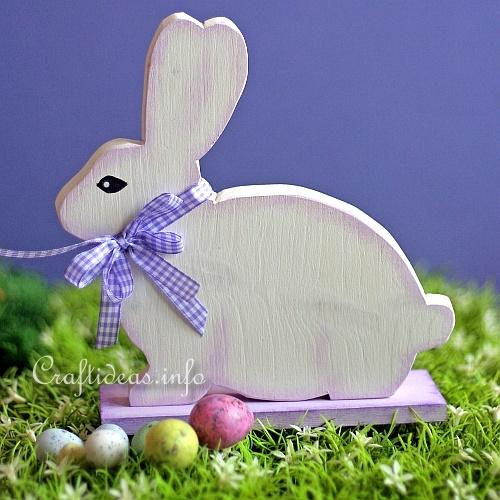 Woodcraft for Easter - White Easter Bunny 1