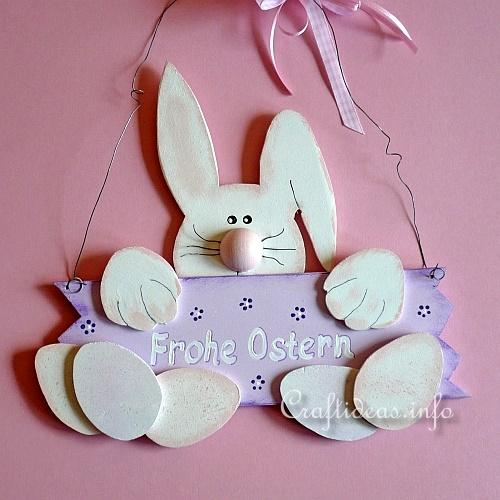 Wooden Easter Bunny Door Sign