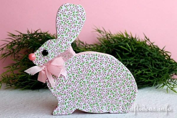 Wooden Easter Bunny Embellished With Scrapbook Paper
