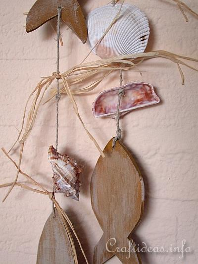 Wooden Fish and Seashells Hanging Decoration 2