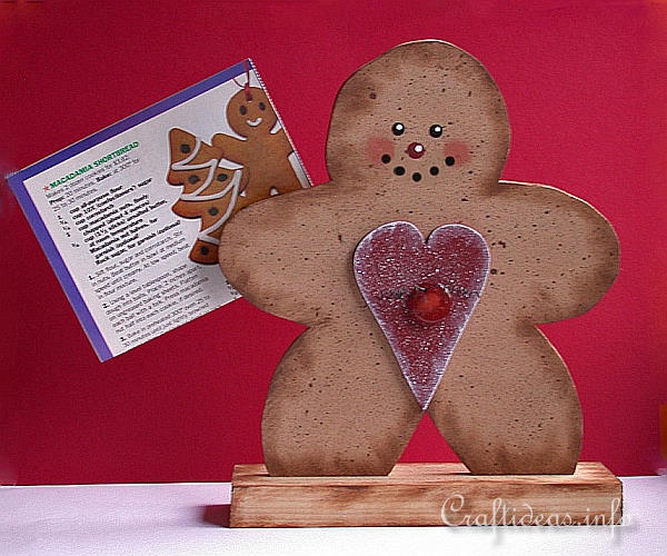 Wooden Gingerbread Man Recipe Card Holder 2