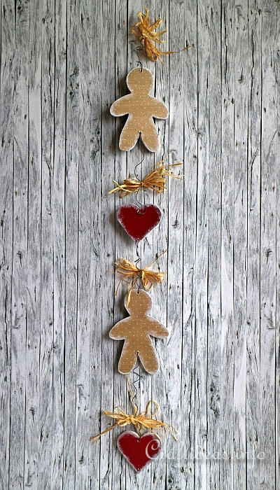Wooden Gingerbread Man and Heart Chain