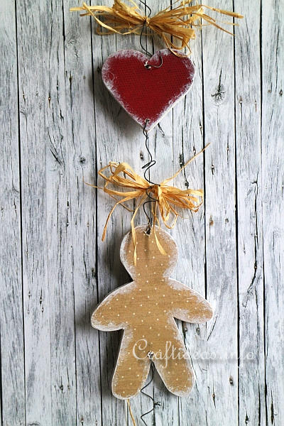 Wooden Gingerbread Man and Heart Chain 2
