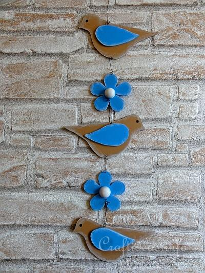 Wooden Hanging Decoration with Birds and Flowers