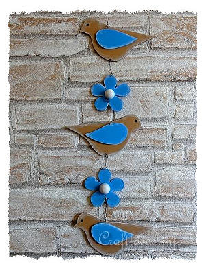 Spring Wood Craft Birds And Flowers Hanging Decoration