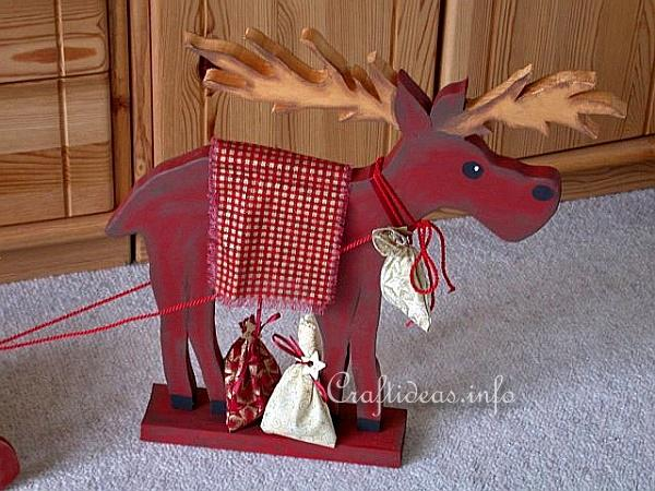 Wooden Moose and Sleigh Advent Calendar 2