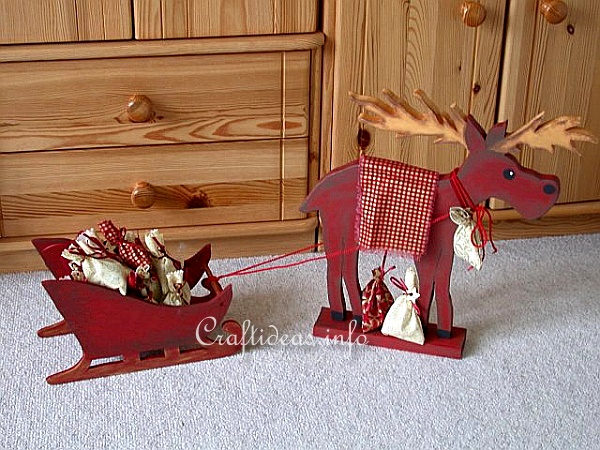 Wooden Moose and Sleigh Advent Calendar