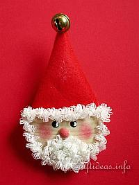 Wooden Santa Lapel Pin