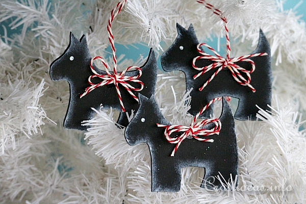 Wooden Scotties Christmas Tree Ornaments