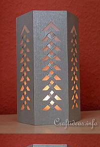 Christmas Paper Craft - Six Sided Lantern with Intricate Design