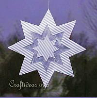Christmas Paper Craft - White Paper Star Window Decoration