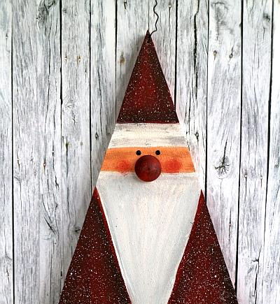 Christmas Wood Craft - Wooden Santa Claus Garland with Star 2