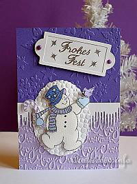 Embossed Snowman Christmas Card