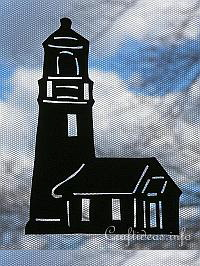 Silhouette Lighthouse Paper Window Decoration